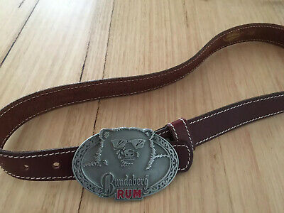 Bundaberg Rum Belt Buckle On R M Williams Brown Leather Belt 36/91 New