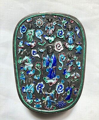 Antique Chinese Enamel Tobacco / Dresser Box Sterling? Marked  8 Immortals