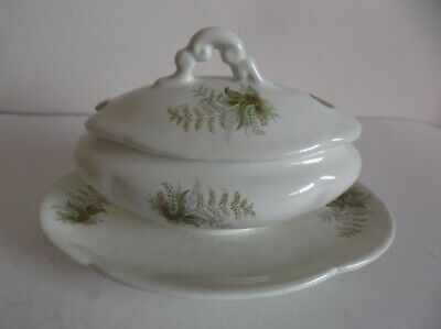 Vintage Nouvelle Art Paris Sugar Bowl With Lid And Attached Underplate