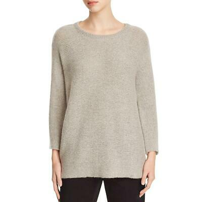 Eileen Fisher Womens Gray Wool Heathered Pullover Sweater Top L BHFO 9868