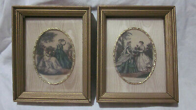 Two La Mode Illustree Fashionable Victorian Ladies Pencil Colored Pictures