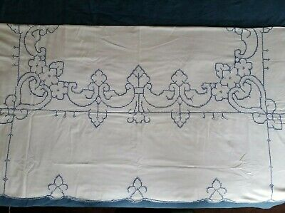Vintage Linen Tablecloth Hand Stitched