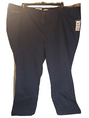 Charter Club Womens Pants Navy Blue Size 24W Plus Flat-Front Stretch $45