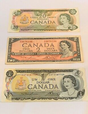 CANADA   $1  $2  $20  DOLLARS  OLD PAPER  BANKNOTES  Circulated