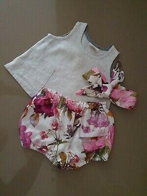 Freckly Ollie Outfit Baby Girl 3 Months Linen OOAK Custom Made Bloomers Head...