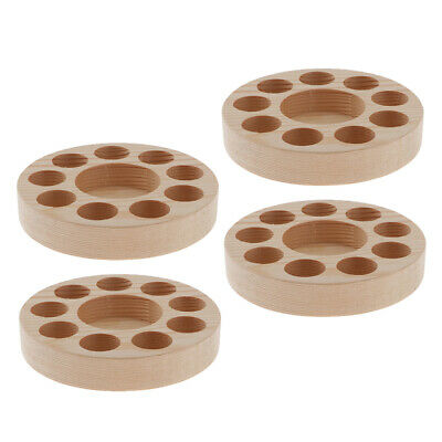4x Essential Oils Displaying Rack Round Pine Wood Stand Holder Tray for 10Bottle
