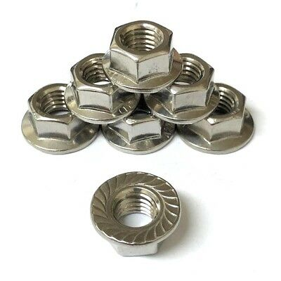 M12 (12mm) Serrated Flange Hex Nuts A2 Stainless Steel Non Locking Full Nut