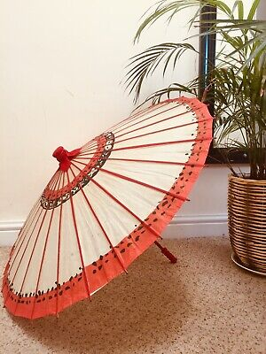 Vintage Retro Kitsch Tiki Red Oriental Paper Decorative Parasol Umbrella
