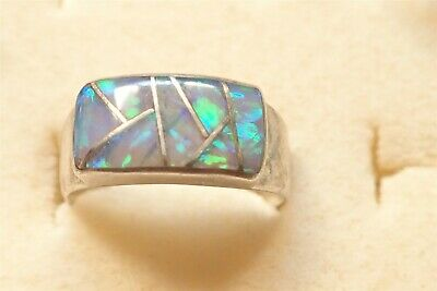 Grandmas 925 Sterling Silver Old Pawn Fire Opal Chunky Ring