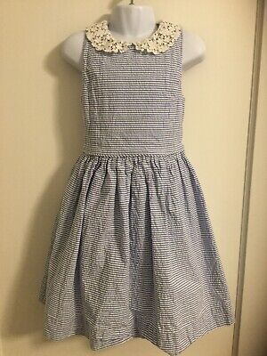 Polo Ralph Lauren Girls Sz 6x Blue Seersucker Dress Lace Collar 100% Cotton