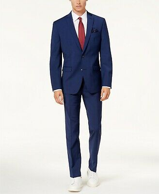 $754 Bar Iii Men's 36S Blue Slim Fit 2 Piece Wool Suit Jacket Blazer Pants