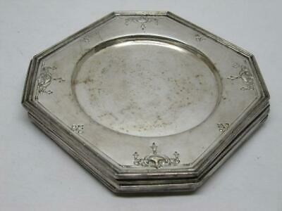 Derby & Sheffield Reproduction Fancy Silver Plate Small Plates Coasters Old Vtg