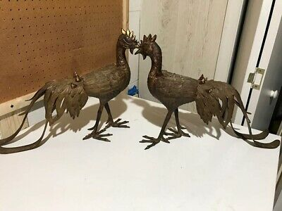 Pair of Antique Japanese / Chinese Phoenix Bronze Figure 19th C.