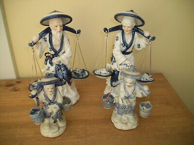 4 Blue White 2 Large 2 smaller Chinese Fishermen and Ladies