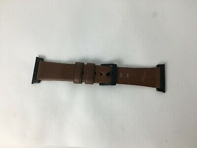 Nomad Leather Watch Strap for Apple Watch 42mm 44mm - Brown with Black Lugs
