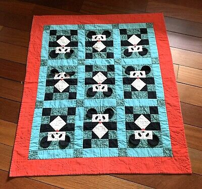 Handa Quilt Authentic Handmade Panda Collection Baby Blanket Red Turquoise Black