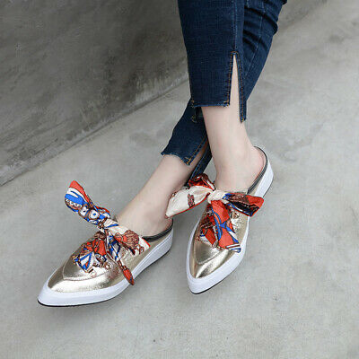 Women's Baotou Thick Bottom Slope With Casual Pointed Mid-Heel Wild Half Slipper