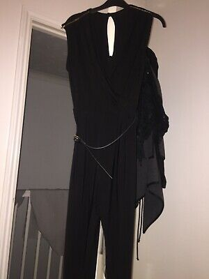 Ladies Black Smart Jumpsuit With Belt Size 10/12