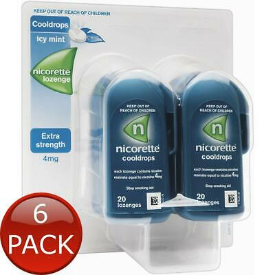 6 x NICORETTE COOLDROPS LOZENGES EXTRA STRENGTH ICY MINT 80 PIECES 4MG