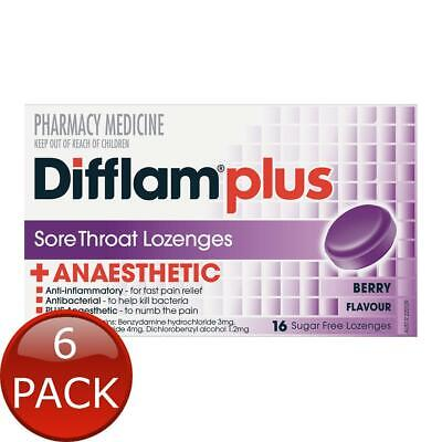 6 x DIFFLAM AAA BERRY SUGAR FREE - 16 LOZENGES