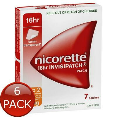 6 x NICORETTE 16HR INVISIPATCH PATCHES STEP 2 15MG 7 PACK