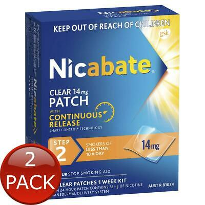 2 x NICABATE CLEAR PATCH QUIT SMOKING STEP 2 14MG 7 PATCHES