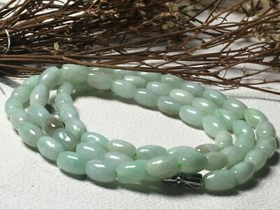 6x9mm 100% Natural A Oil Green Emerald Jade Beads ~Necklace Have certificate0905