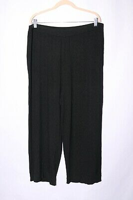 Eileen Fisher Silk Knit Pull On Pants size 2X Graphite Black #A468