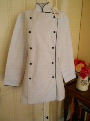 Ladies Chef Jacket By Club Chef White With Black Buttons & Trims