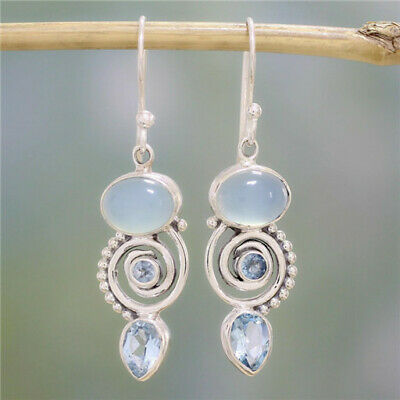1 Pair Woman Fashion 925 Silver Jewelry Crystal Blue Charm Earring Pendant NEW