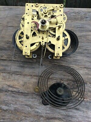 Antique New Haven Calendar Clock Movement, w/ Calendar Hand & Gong, P/R