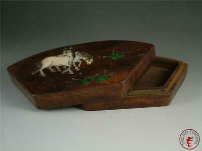 Fine Old Chinese Rosewood Jewelry Box Cosmetic Jar SHELL DECORATION