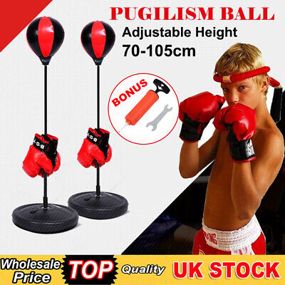 Junior Boxing Kids Punch Bag Ball & Mitts Gloves Kit Children Free Standing Gift