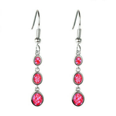 1 Pair Woman Fashion 925 Silver Fire Red Opal Charm Earring Pendant Jewelry NEW