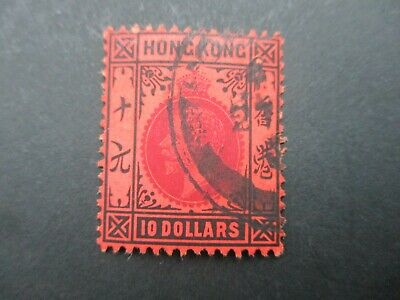 Hong Kong Stamps: KGV $10 Used - Great Item! Must Have (c417)