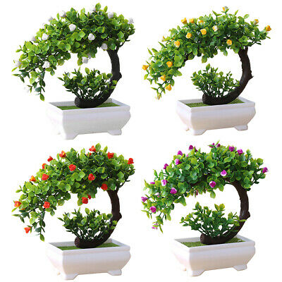 DI- CW_ Blossom Bonsai Plastic Flower Potted Tree Natural Artificial Fake Plant