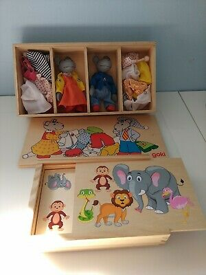 Wooden Farm Animal Dominoes Game in Wood Box Sheep Dog Pig Rabbit Cow Toy