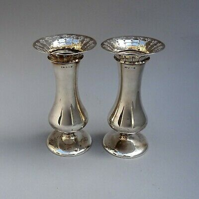 Pair of Solid Sterling Silver Vases ~ 280g ~ 1919 Deakin & Francis / English