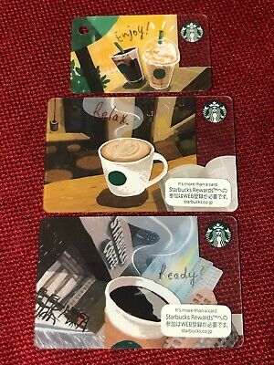 3 New Starbucks Japan 2019 Ready Relax Enjoy Gift Card Lot Limited