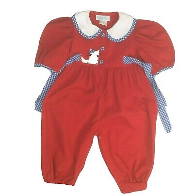 Vintage Girls Bubble Romper Red Blue White Gingham Cat Size 2T Made in USA