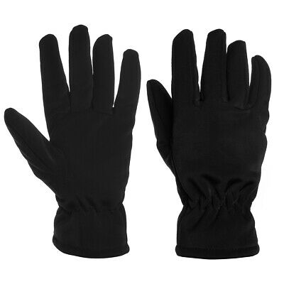 Black Faux Fur Fleece Lined Thermal Winter Gloves Wind Snow Water Cold Resistant