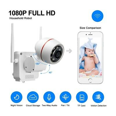 Mini HD 1080P Wireless WIFI IP Pan/Tilt Smart Security Bullet Camera 2-Way Audio