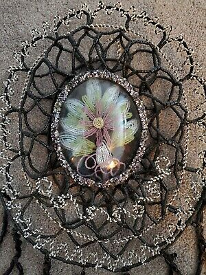 Antique FRENCH Beaded Flowers Floral MOURNING Wreath Early 1900s STUNNING