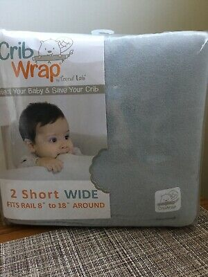 "Trend Lab Crib Wrap Rail Covers Gray fleece 2 Short Wide around fits 8"" to 18"""