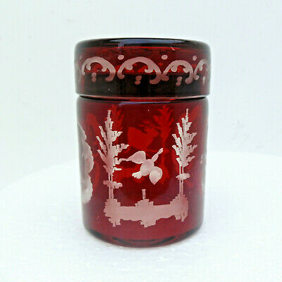 Antique Victorian Ruby Glass Etched Overlay Bohemian Lidded Jar