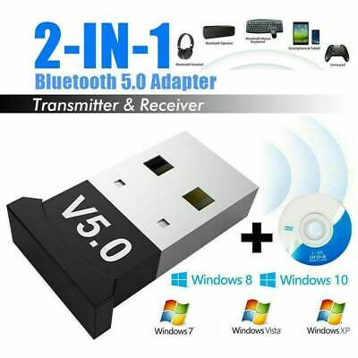 USB Bluetooth 5.0 Adapter Wireless Dongle Stereo Receiver for Windows 10/8/7/XP