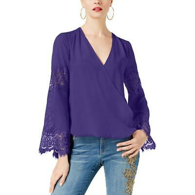INC Womens Purple Lace Inset Surplice Day To Night Blouse Top S BHFO 6841