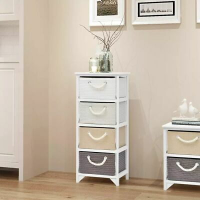 Wood Storage Cabinet Cupboard Hall Side Chest with 4 Drawers Free Standing