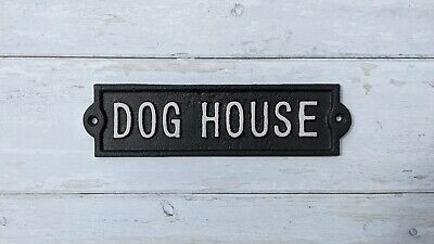 Cast Iron Antique Style Wall Mounted White Plaque / Sign Dog House