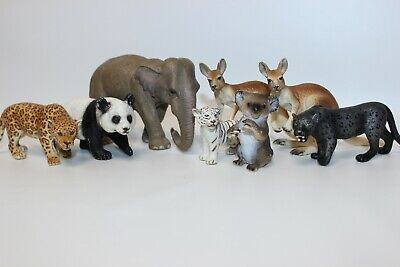 Schleich Lot Of 8 Asian & Australian Safari Animals. Kangaroo, Elephant, Panda +